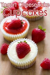 Yogurt Cheesecake Cups with Raspberry Sauce