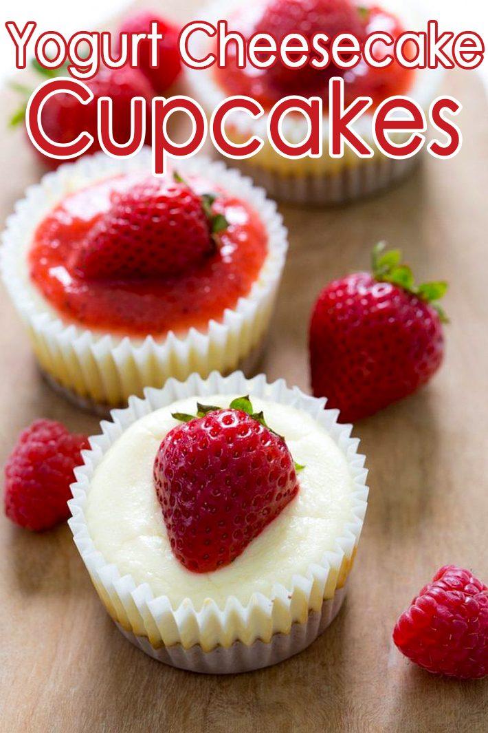 Yogurt Cheesecake Cups with Raspberry Sauce