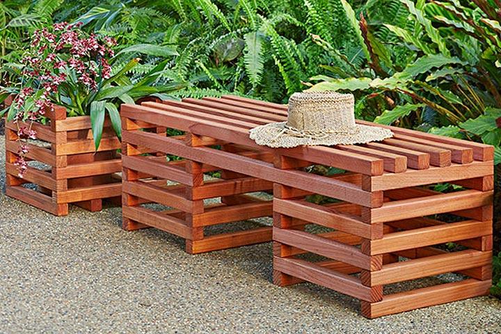 DIY Box Crib-Style Outdoor Bench and Planter