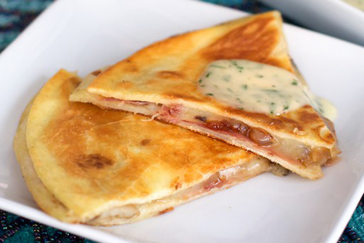 Prosciutto, Onion, and Mushroom Quesadillas