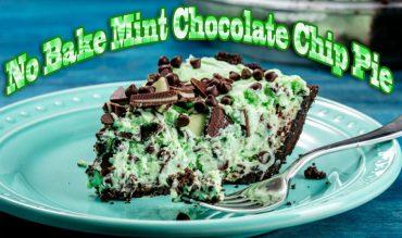 No Bake Mint Chocolate Chip Pie