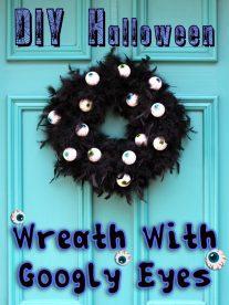 DIY Halloween Wreath With Scary Googly Eyes